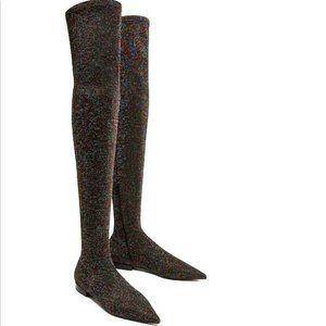 Zara Glitter Sparkle Over Knee Stretch Flat Boots